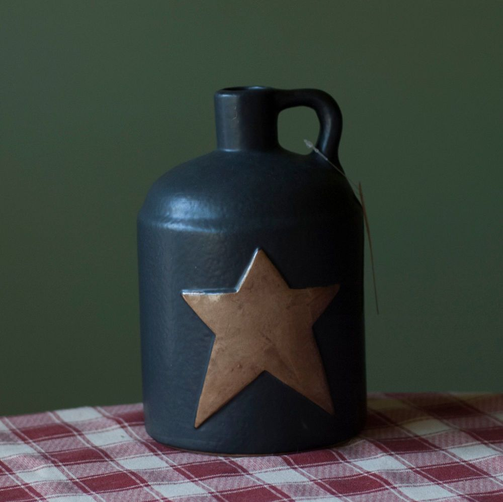primitive country black jug w prim star pottery home decor