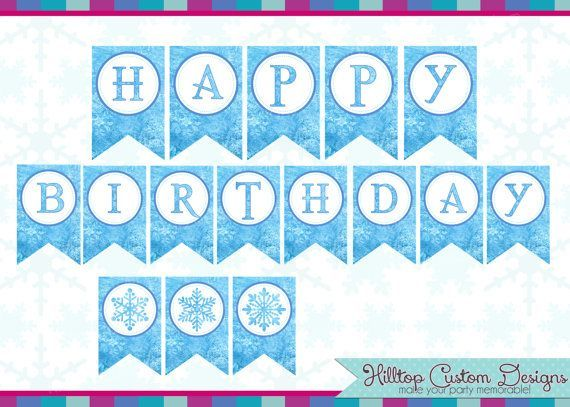 frozen happy birthday banner printable