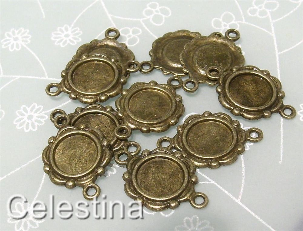 20 Cabochon Trays Connector Bezels Charms Antique Bronze Inner Tray 9mm LF NF CF