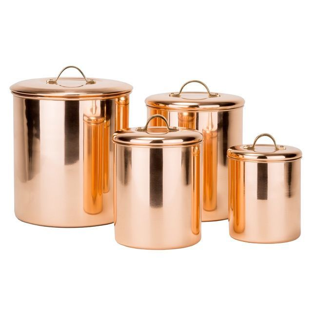 With its bright Copper finish and generous storage capacity this Copper Plated Stainless Steel canister Set is the perfect countertop storage solution.