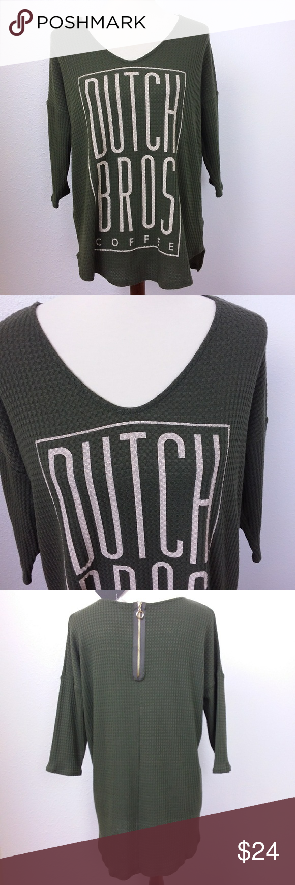 DuTCh BRo CoFFee Light Thermal Graphic Green Top Dutch Bros. is the best coffee establishment around. (coffee not included)  New with tag.  Dutch Bro coffee lightweight thermal / waffle texture tunic top.  Dark olive green with graphic on the front.  Expose gold zipper on the back.  Super soft and stretchy.   Great gift or for your collection. Tag size: S (oversize top) 22 armpit to armpit 27 shoulder to hem Thanks * Ship within 1 business day Area: o Dutch Bros Tops Tunics #dutchbros DuTCh BR #dutchbros