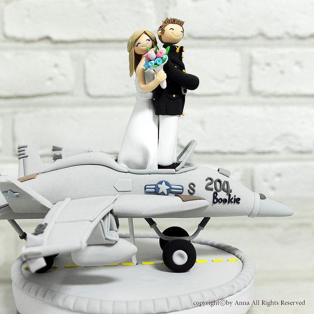Air Force Wedding Ideas: F18 Fighter Pilot Wedding Cake Topper