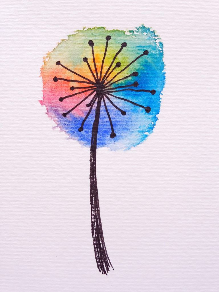 How To Paint A Rainbow Watercolour Dandelion Rainbow Art