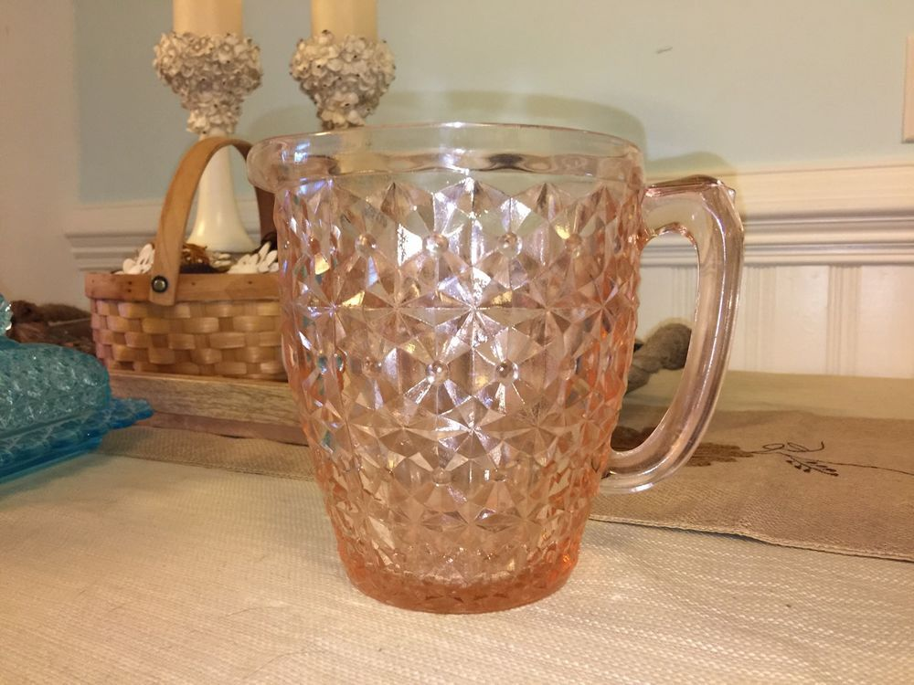 Shabby Vintage Pink Cottage Chic Button Bows Jeanette Glass Water Pitcher