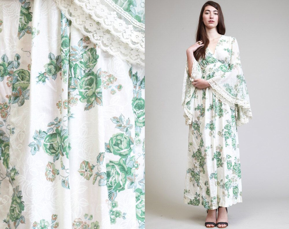 Vintage bell sleeves gauze floral lace maxi dress pinterest lace