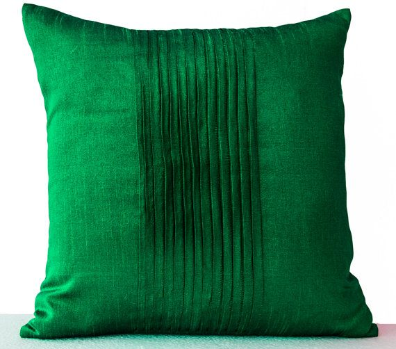 Throw pillows in emerald green art silk -Attractive cushion in rippled pin tuck pattern ...