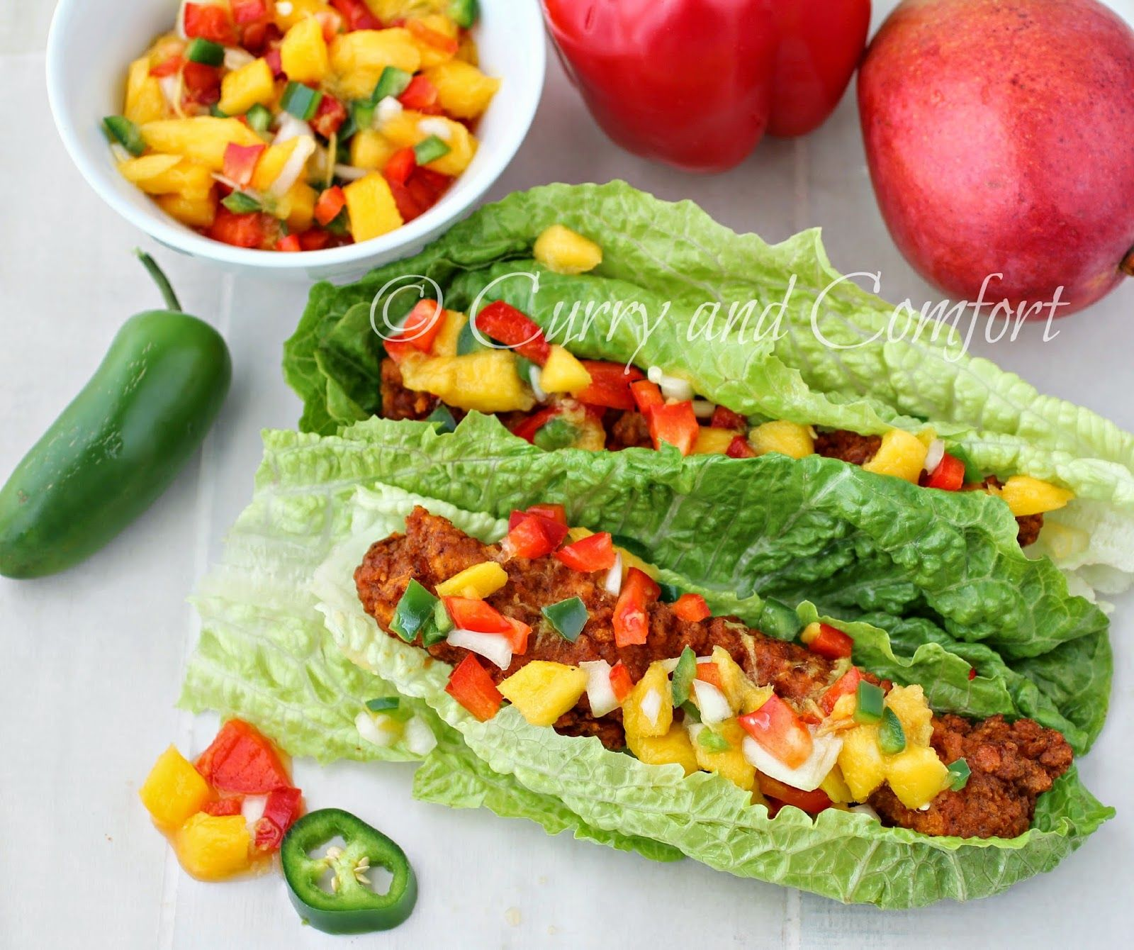 Curry and Comfort: Buffalo Chicken Lettuce Wraps with Mango Salsa