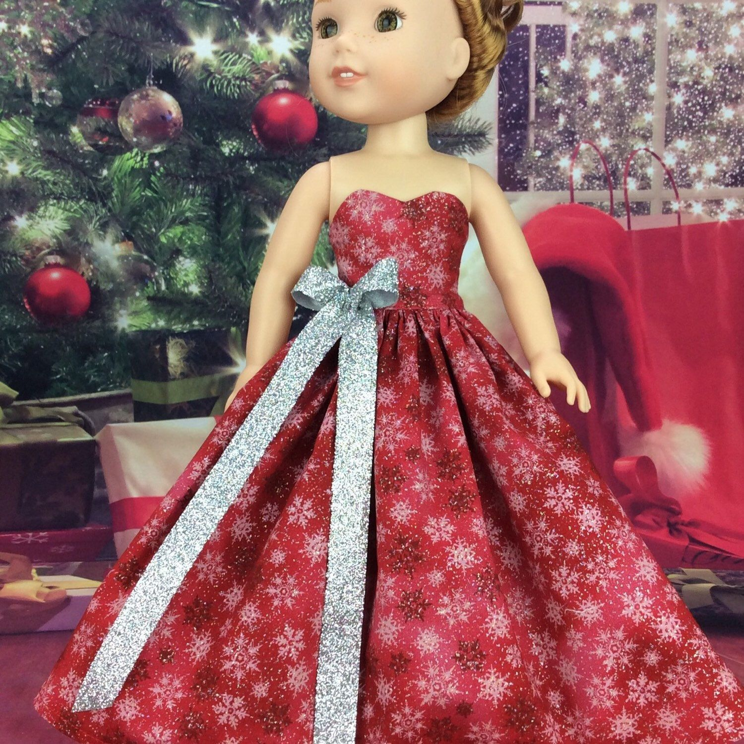 Red Christmas ball gown for Wellie Wishers | Doll clothes AG and ...