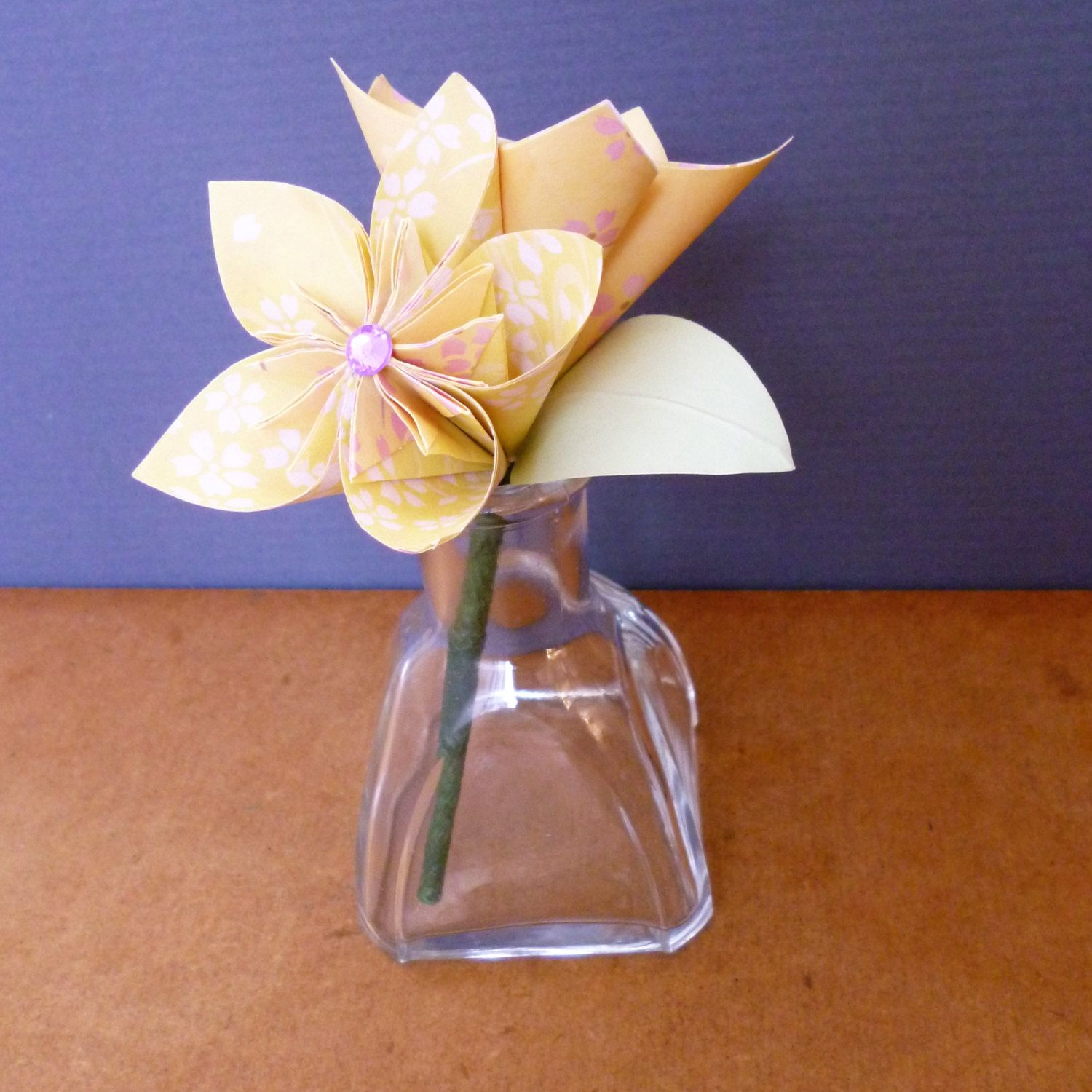 Origami Flowers Small Vase With Two Yellow Paper Kusudama Flowers