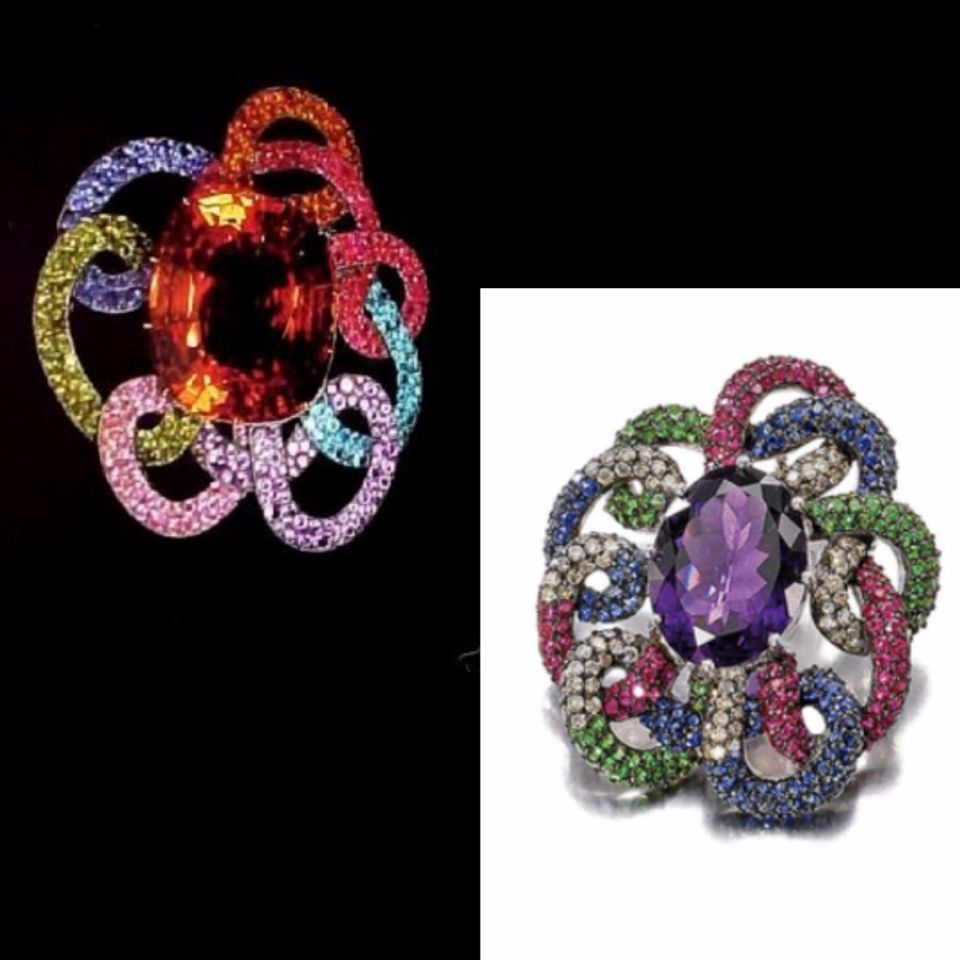 "Top left, JAR - bottom right described by Sotheby's as ""AMETHYST, RUBY, SAPPHIRE, TSAVORITE GARNET AND DIAMOND BROOCH 2,800 — 3,400 EUR sold 6,240EUR"" - no mention of date, author or any mark.... and what weird proportions and use of color... it reminds me of a dead spider! #LucDanto #JewelsbyJAR #unfortunate #copycat?"