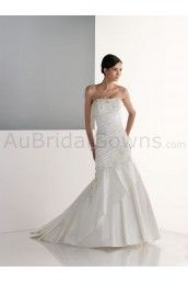 Shantung Strapless Directionally Pleated Bodice Mermaid Wedding Dress