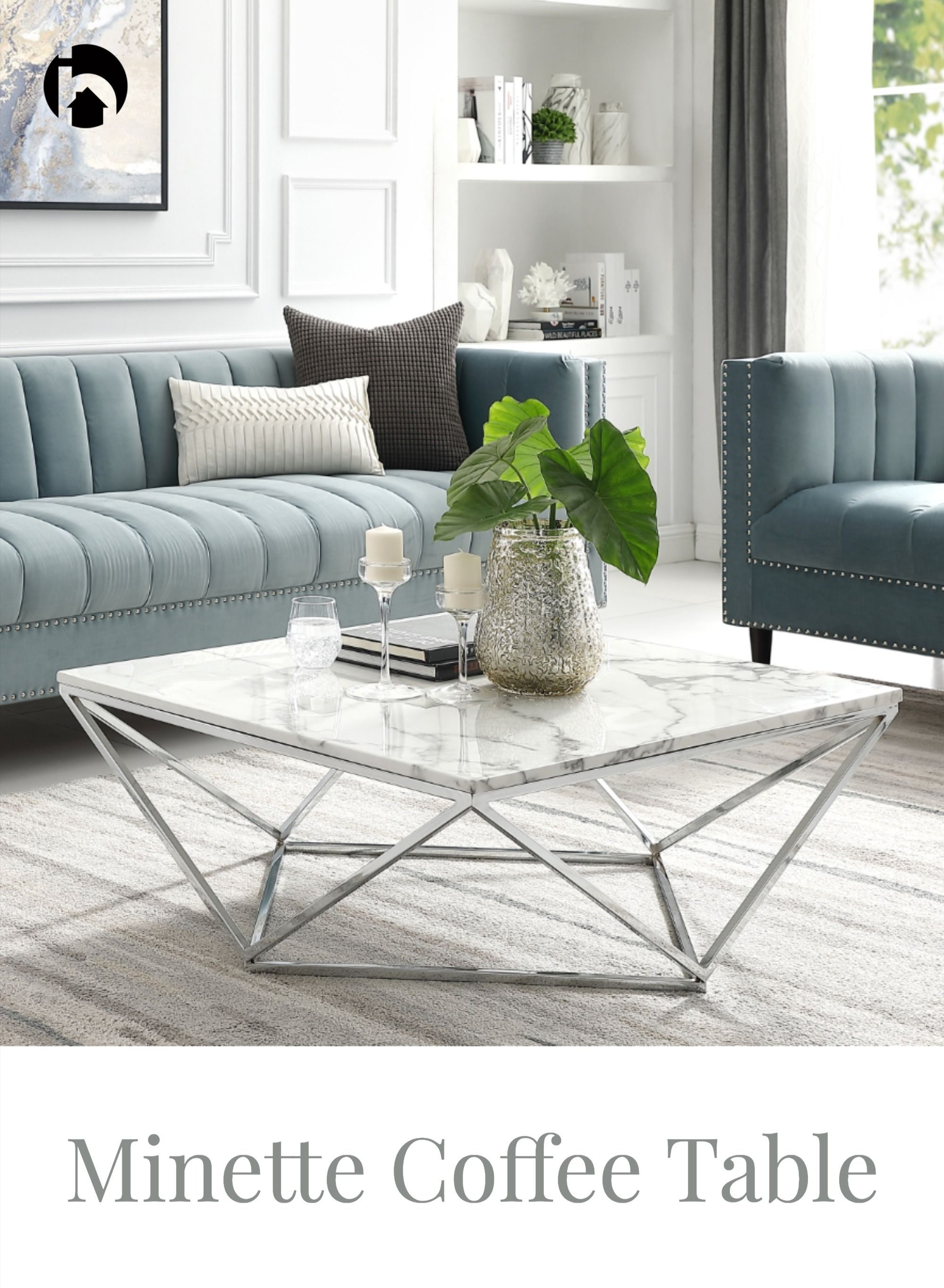 Modern Coffee Table With Open Geometric Metal Frame Silver Base Marble Top Elegant Living Room Furniture Stylish Side Table Modern Coffee Tables Elegant living room tables