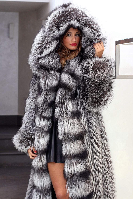 SuperbHoodedSilverFoxFurCoat Fur fashion, Fur