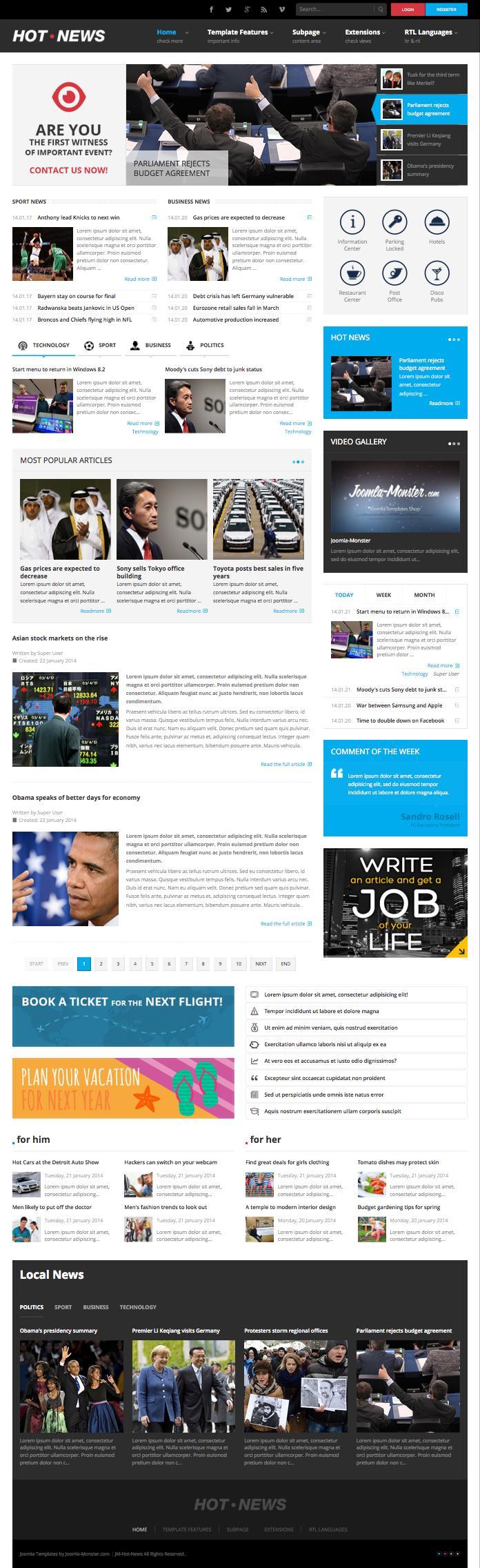 JM Hot News Joomla Magazine Style Template Joomla