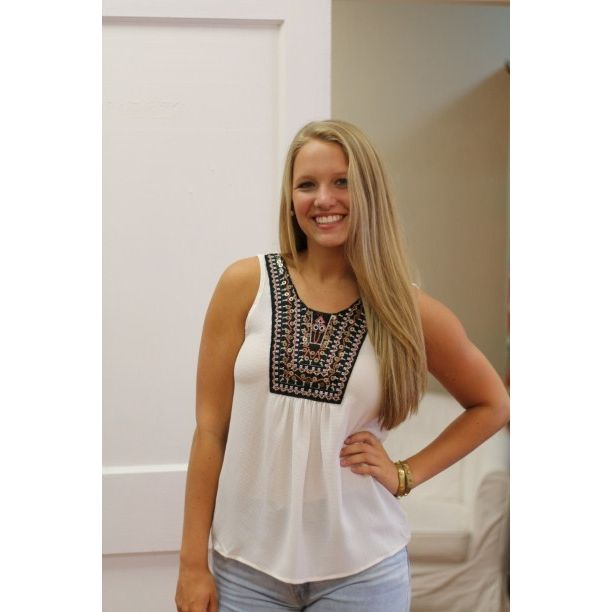 Ivory Tribal Top S.M.L $18 #lubellas #tribal | Lubella's Boutique - Bartlesville, OK
