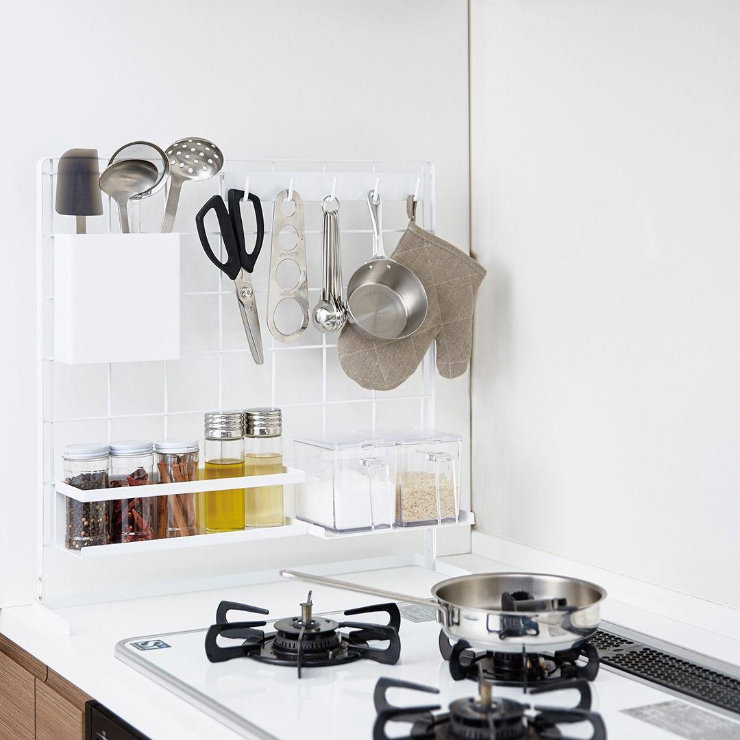 キッチン 自立式メッシュパネル タワー 収納 アイデア インテリア 収納