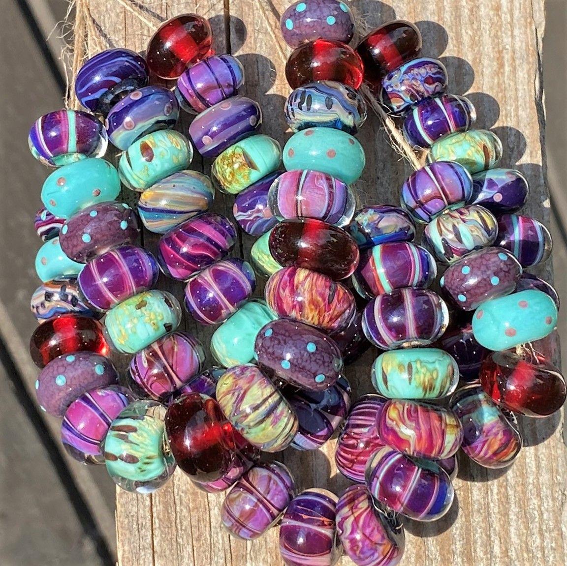Purple Handmade Lampwork Glass Bead Bracelet