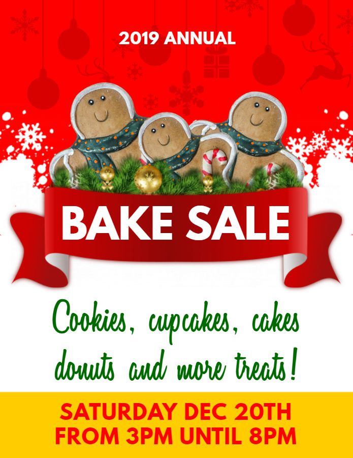 printable christmas bake sale ad flyer template in 2019