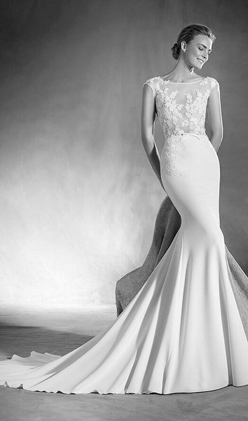 Try this delicate and feminine mermaid wedding dress from atelier come into schaffers in scottsdale and try on the amazing atelier pronovias style elsa featuring crepe gauze and guipure in this wedding dress ombrellifo Gallery