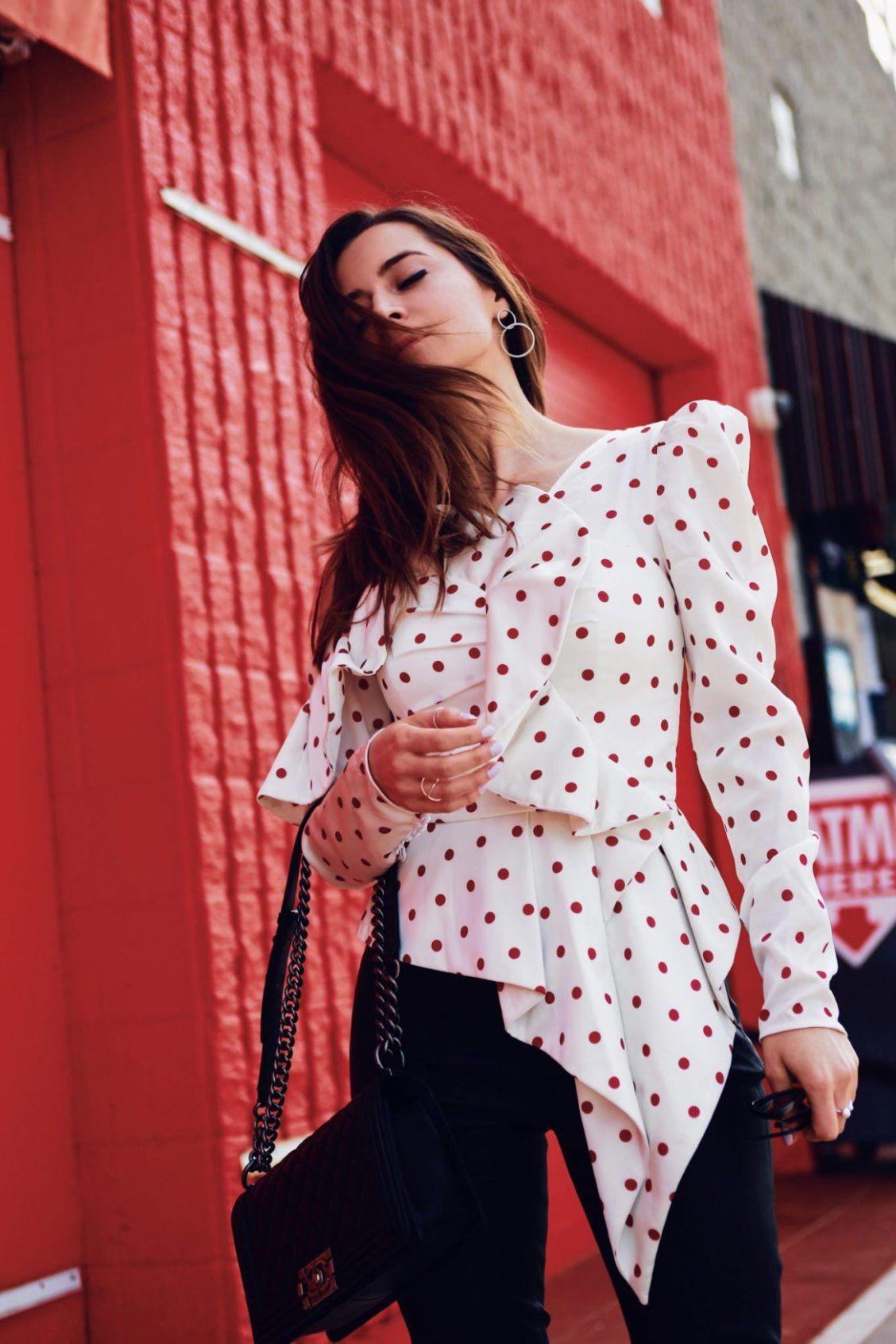 Julia Comil in Satin Polka Dot Frill Top by Self Portrait   FASHION ... 2589175c0d12