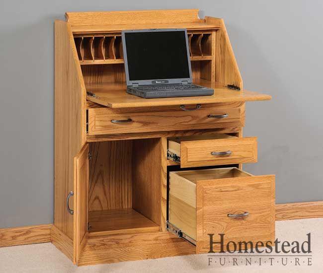 Secretary Desk W File Drawer Custom Hardwood Amish Furniture