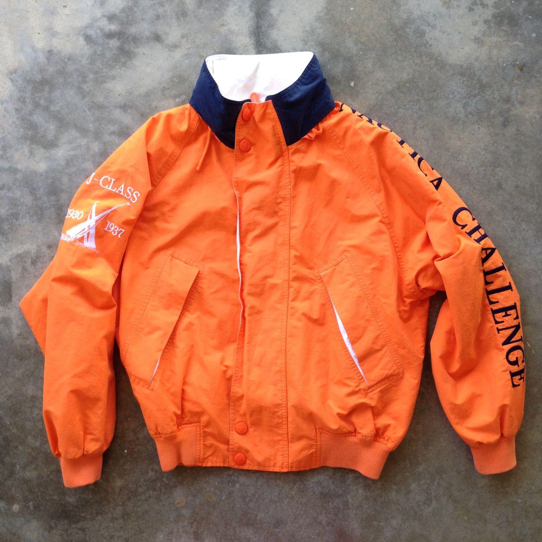 Vintage 90 S Nautica Challenge J Class Orange Sailing Jacket Med Jackets Men Fashion Vintage Windbreaker Jacket Vintage Jacket