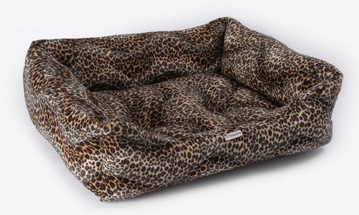 Fabulous Faux Fur Leopard Print Dog Bed - available in Medium (£32) and Large (£36.99). Made in the UK. High quality, very reasonably priced.