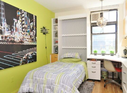 Boys Bedroom   For The Little One, Lime Green Accent Wall And Inside Closet,