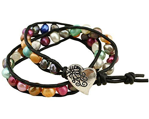 Colored Pearl and Leather Cord 2 Wraps Heart Charm Bracelet for Women 16.5'' Annie Jewelry http://www.amazon.com/dp/B01CSCLOPW/ref=cm_sw_r_pi_dp_z62bxb1FH27E4