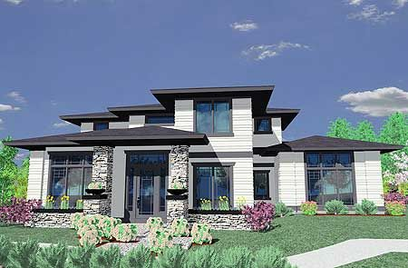 Plan 85014MS Prairie Style House Plan Prairie house Architects