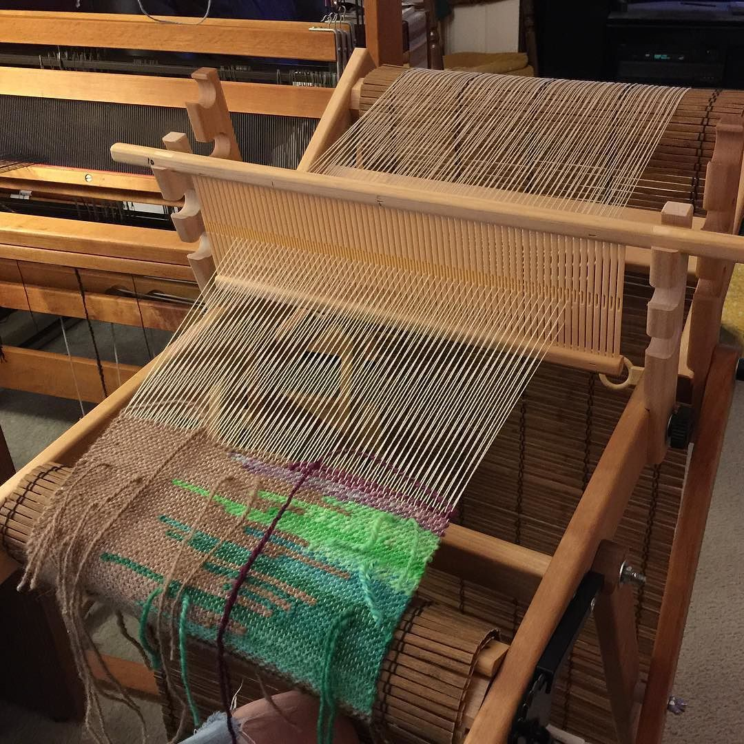 Working with handspun. Not quite enough weft to cover the warp. Oh well. #tapestryweaving