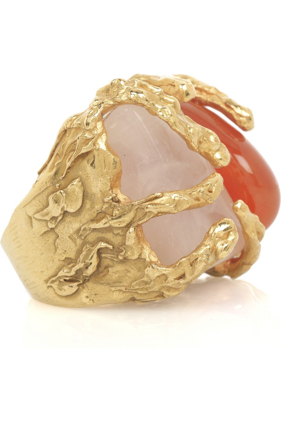 Goldtone metal ring with coraline stones, Yves Saint