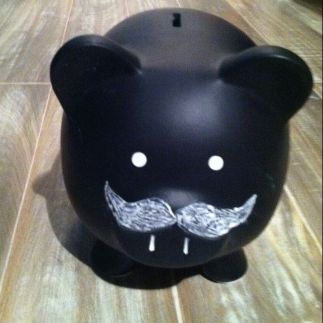 Chalk board paint piggy bank and the chalk mustache