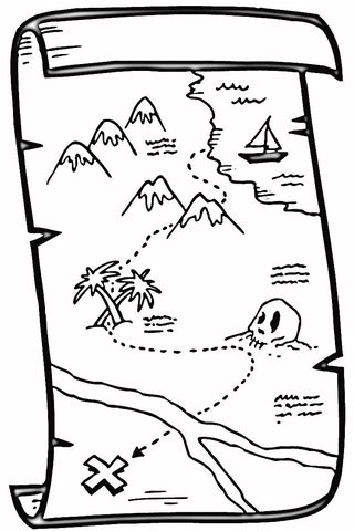 Treasure Map coloring page from Maps category. Select from