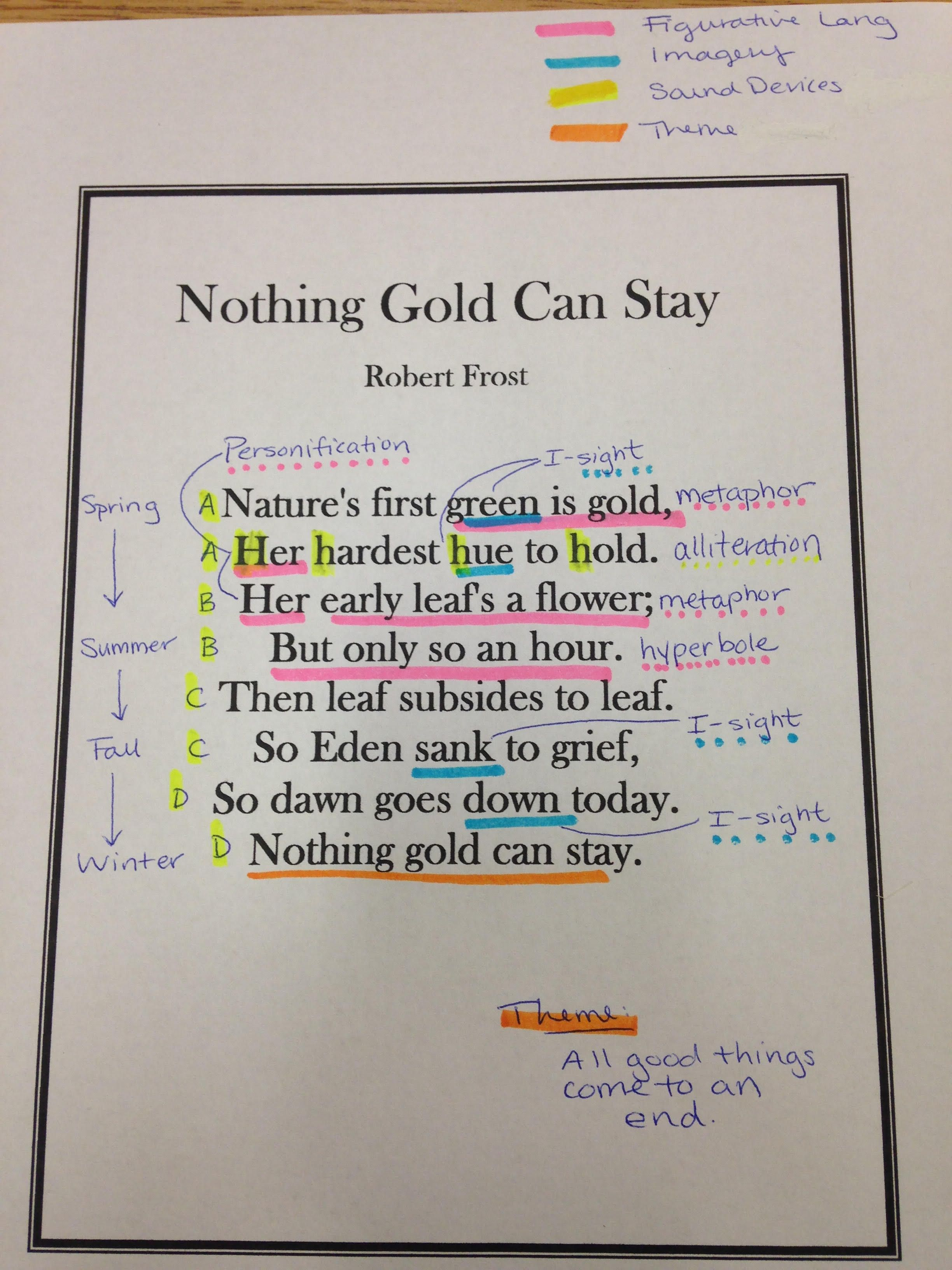 Related Image Online School Alliteration Nothing Gold Can Stay Paraphrase Robert Frost