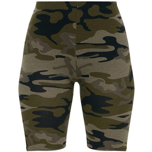 Short cycliste kaki imprimé camouflage ( 17) ❤ liked on Polyvore featuring  shorts 335eddc167b