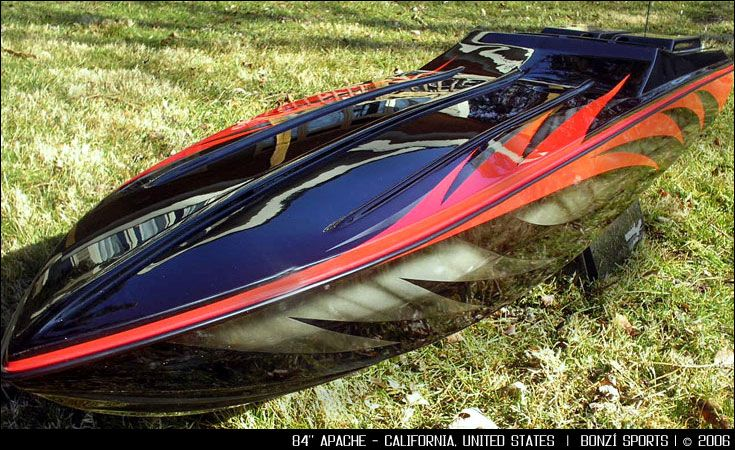 Apache From This Beauty Went To California Custom RC - Custom vinyl decals for rc boatsrc boat archives bonzi sports rc gas boats and accessories
