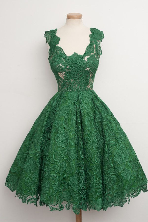 Green overlay lace dress