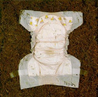 """Ernie Pepion (Blackfeet, b. 1943)    MAN INFEST DYSENTERY 1992  mixed media 22"""" x 20"""" x 3""""    """"When I was small, my grandfather told me that the Blackfeet used moss in the cradleboard. So you can see that 'disposable' diapers are not new. What is new is a 'disposable' diaper that doesn't readily return to nature. """""""