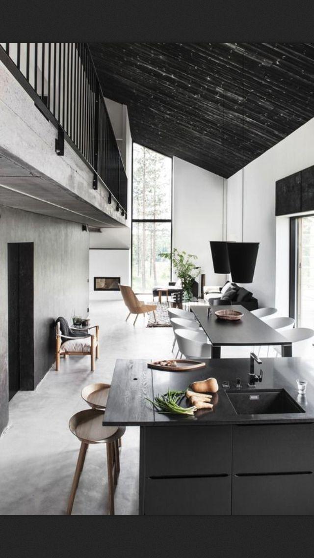 Kitchen Simple Black Grey Kitchen Interior Home