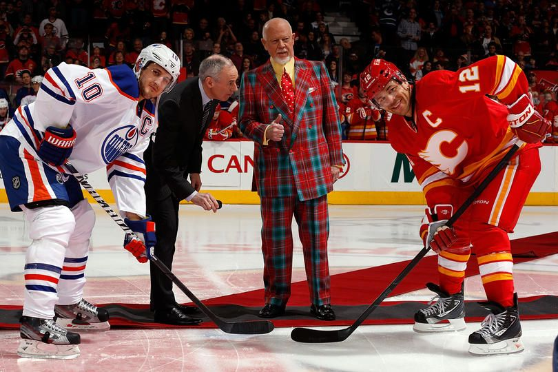 Cbc Broadcast Personalities Don Cherry And Ron Maclean Drop The Puck In The Battleofalberta Game Tonight Calgary Flames Don Cherry Calgary Flames Oilers