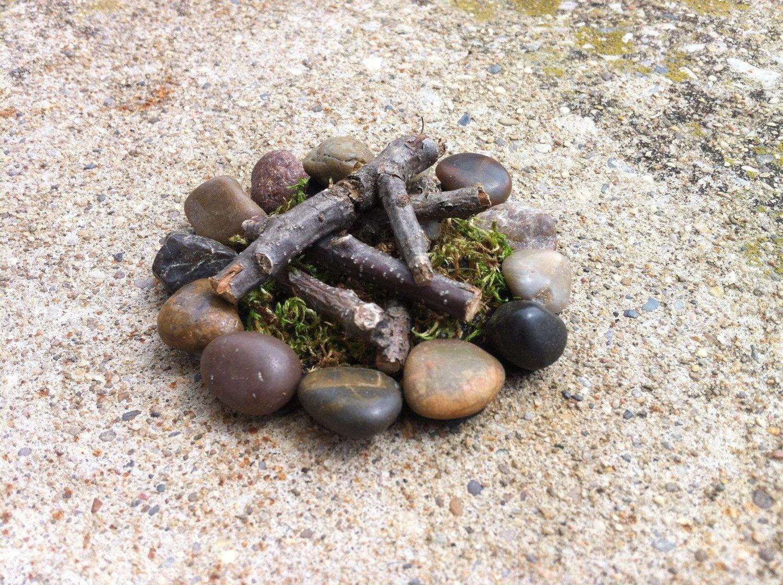Casa de muñecas miniatura campo fuego hoyo hadas jardín calentador ...