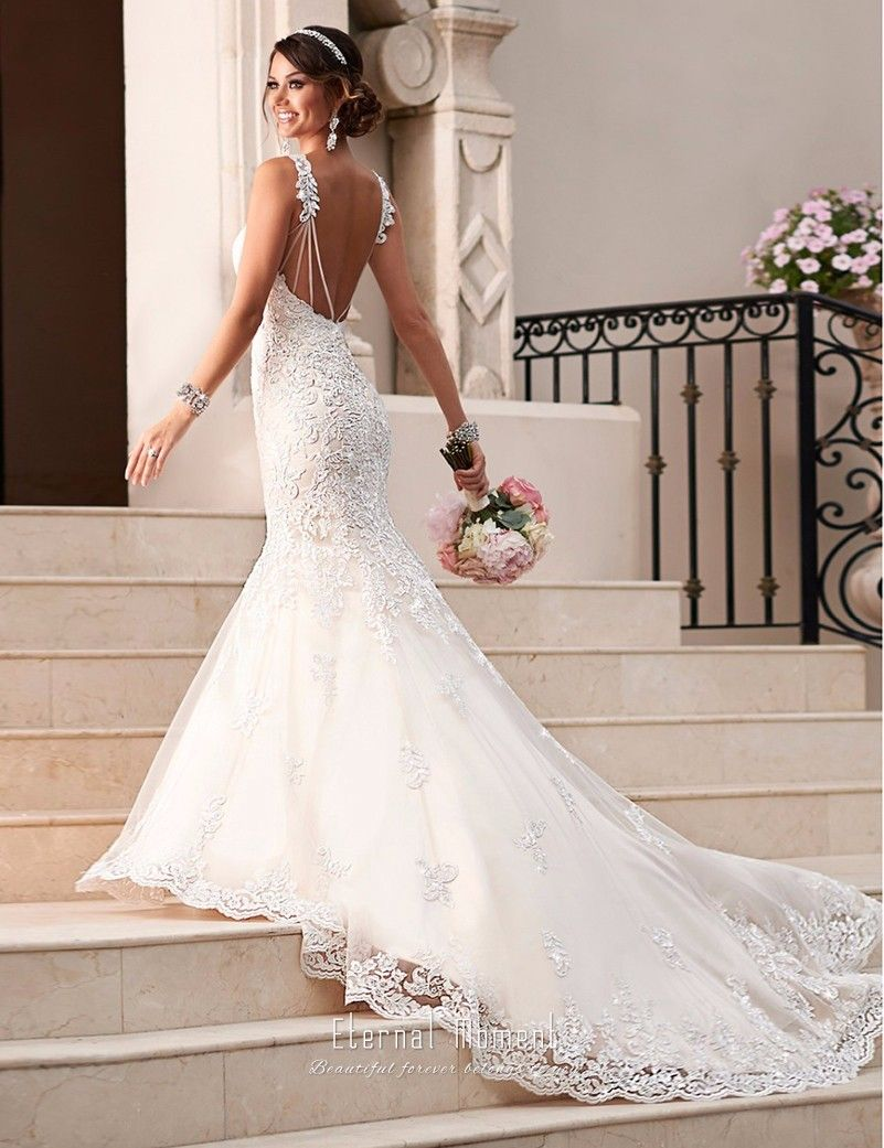 Spaghetti strap fishtail wedding dress  Cheap vestido de casamento Buy Quality bridal gown directly from