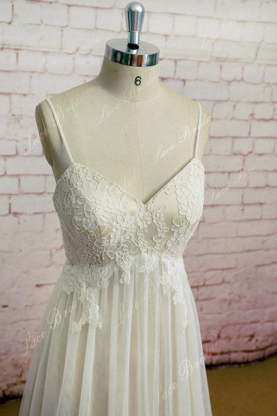 Spaghetti strap Wedding Gown Outside Bridal Gown Champagne underlay ...