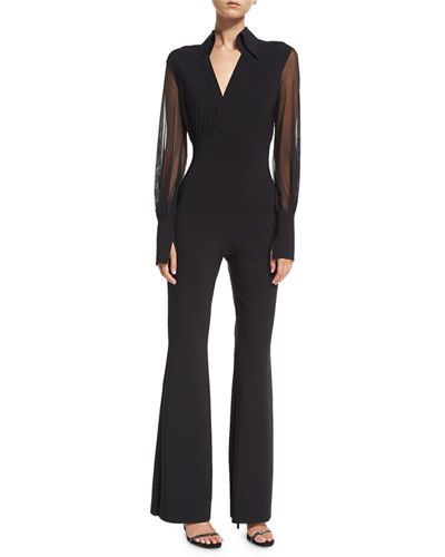 a687cf6c634430 TVZET Chiara Boni La Petite Robe Agos Sheer-Sleeve Surplice Flared Jumpsuit
