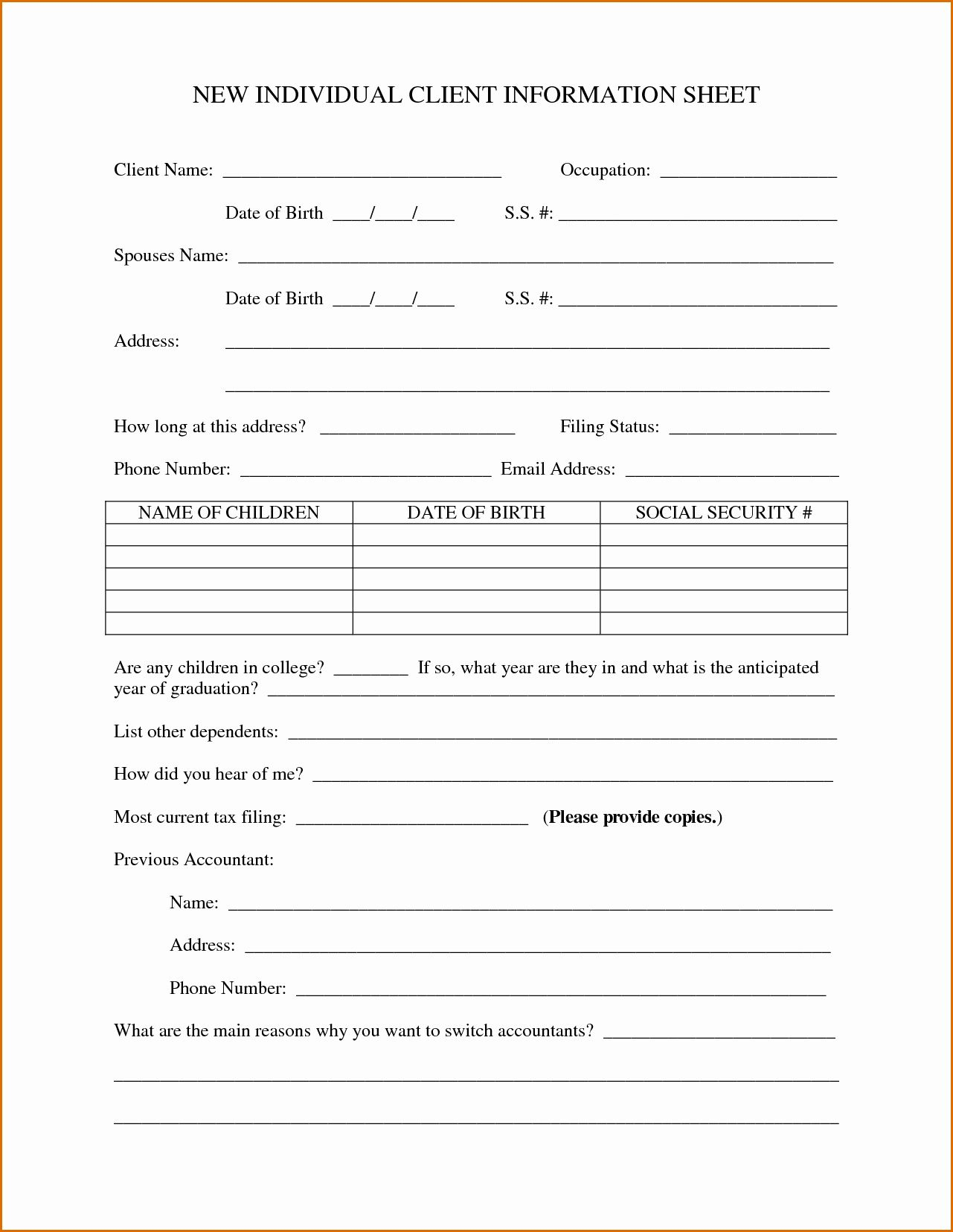 Customer Information Form Template Lovely 10 Client