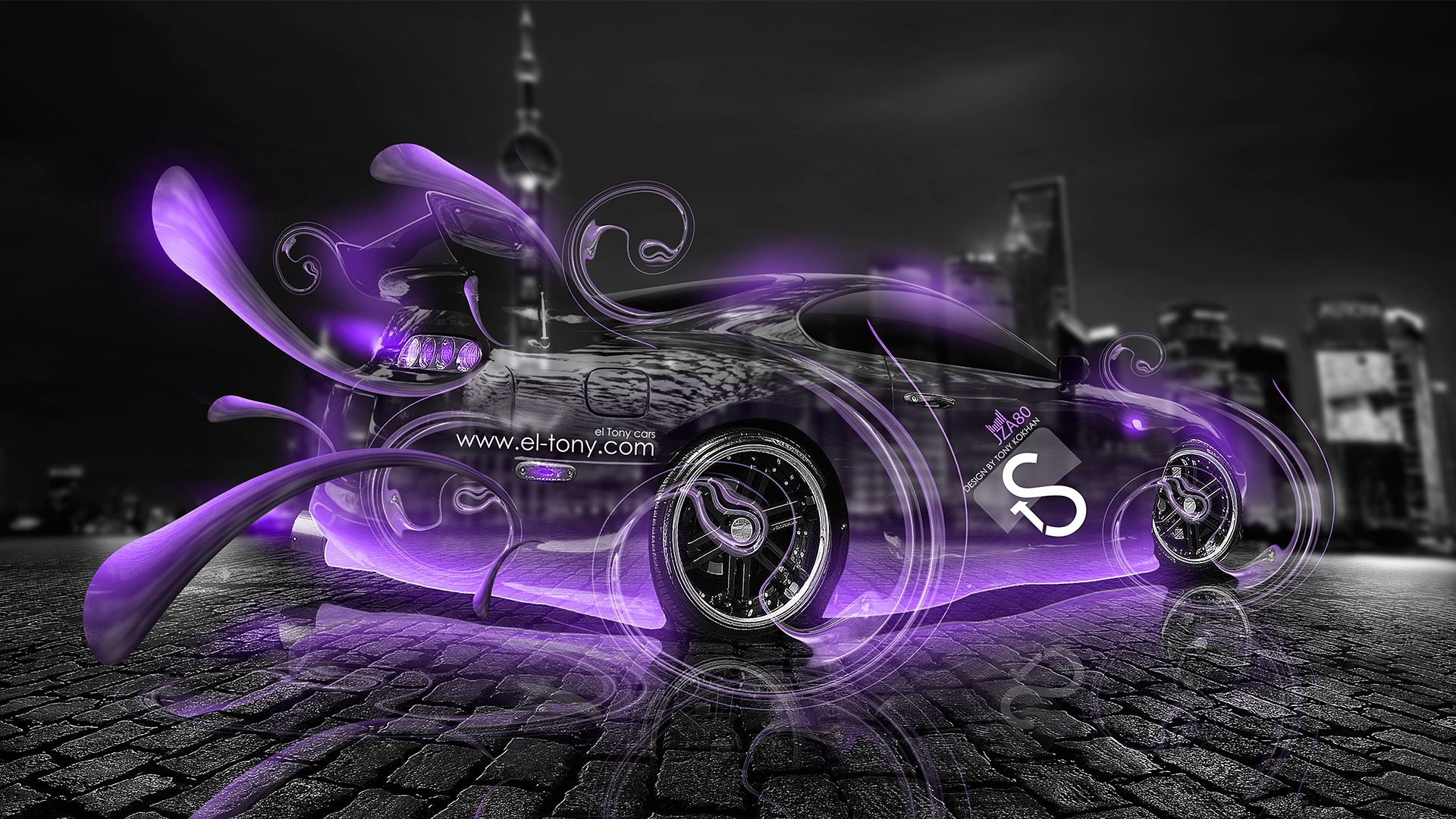 Toyota Supra Jdm Effects Crystal Car 2017 Violet Neon Hd Wallpapers