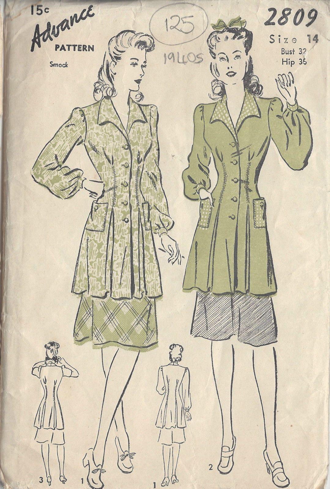 1940s Vintage Sewing Pattern B32\