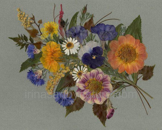"""8''x10'' Art print  """"Bouquet with Pansy"""" - Pressed Flower Art / Oshibana / Mixed Media / Floral Design"""