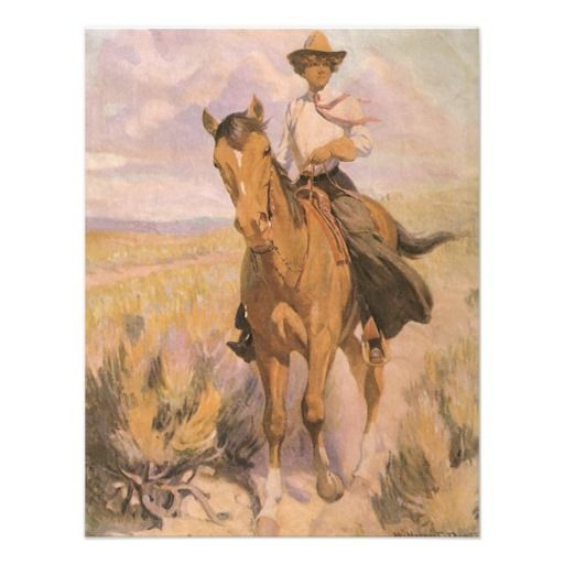 Woman on Horse by Dunton, Vintage Cowgirl Cowboy Invite